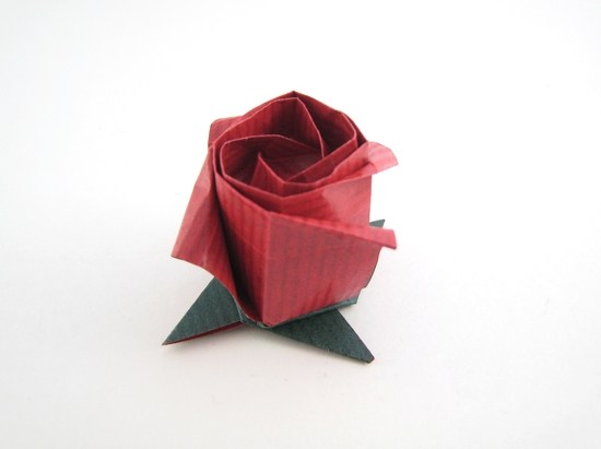 Origami Rose - bud by Toshikazu Kawasaki folded by Gilad Aharoni on giladorigami.com