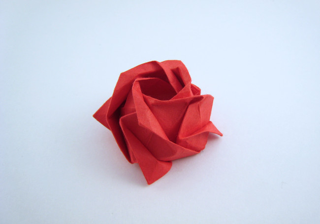 Origami Rose - classic by Toshikazu Kawasaki folded by Gilad Aharoni on giladorigami.com