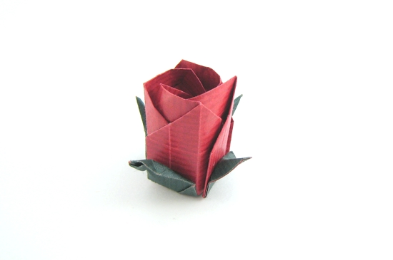 Origami Rose - color changed leaves by Toshikazu Kawasaki folded by Gilad Aharoni