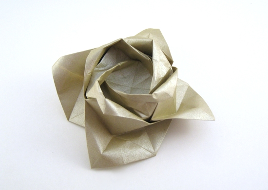Origami Rose - open petals by Toshikazu Kawasaki folded by Gilad Aharoni