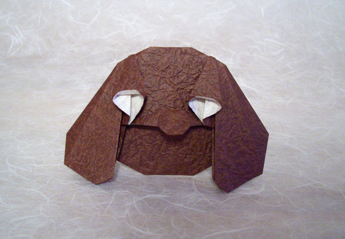 Origami Rowlf by Robin Glynn Folded from a square of momigami by Gilad Aharoni on giladorigami.com