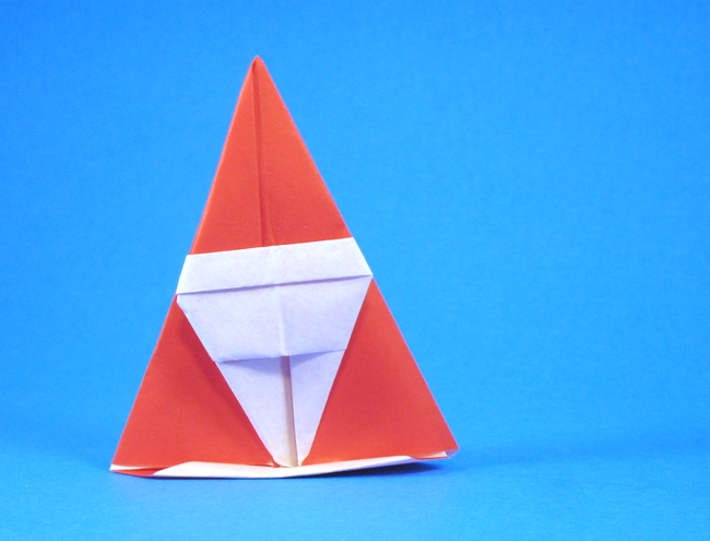 Origami Santa Claus or Dwarf by Asahi Isamu Folded from a square of origami paper by Gilad Aharoni on giladorigami.com
