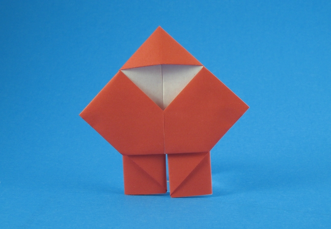 Origami Santa Claus by Asahi Isamu Folded from a square of origami paper by Gilad Aharoni on giladorigami.com
