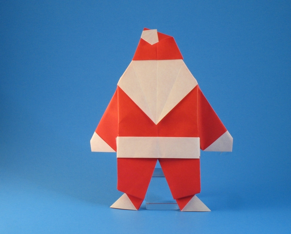 Origami Santa Claus by Steven Casey Folded from 2 squares of origami paper by Gilad Aharoni on giladorigami.com