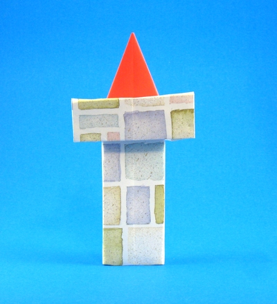Origami Santa Claus in chimney by Yannick Gardin folded by Gilad Aharoni