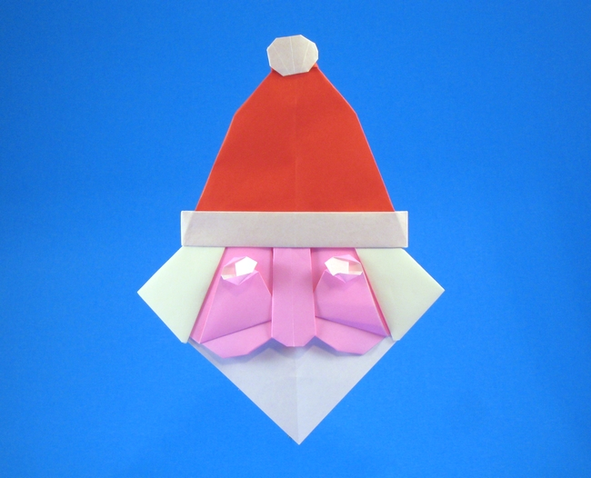 Origami Santa Claus head by Alfredo Giunta Folded from 3 squares of origami paper by Gilad Aharoni on giladorigami.com