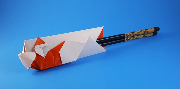 Origami Santa Claus chopsticks wrapper by Inayoshi Hidehisa folded by Gilad Aharoni