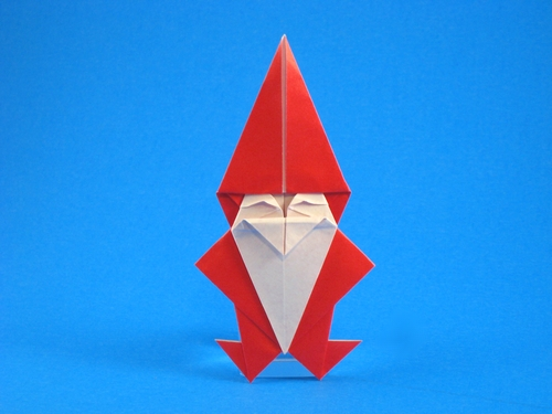 Origami Santa Claus by Kumasaka Hiroshi Folded from a square of origami paper by Gilad Aharoni on giladorigami.com