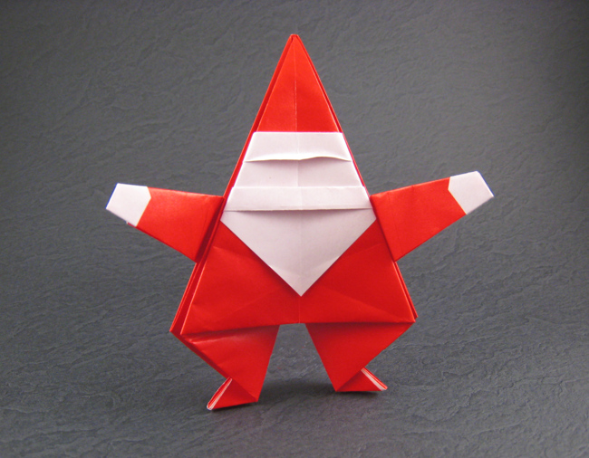 Origami Santa Claus by Linda Mihara Folded from a square of origami paper by Gilad Aharoni on giladorigami.com