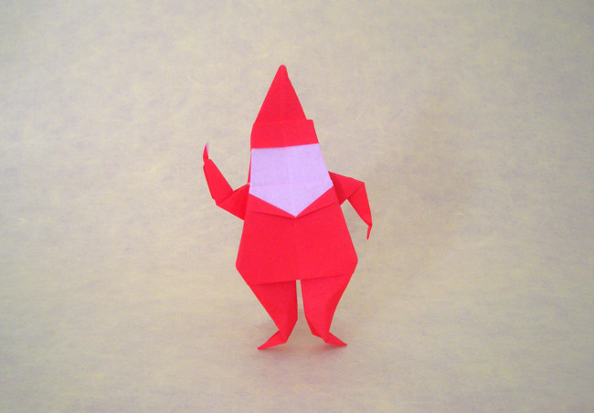 Origami Santa Claus by John Montroll Folded from a square of origami paper by Gilad Aharoni on www.giladorigami.com