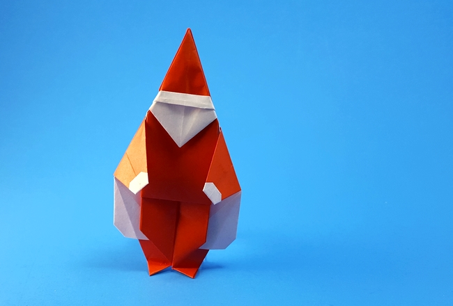 Origami Santa Claus by Miyajima Noboru Folded from a square of origami paper by Gilad Aharoni on giladorigami.com