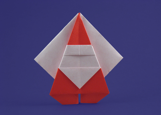 Origami Santa Claus by Katsushi Nosho Folded from a square of origami paper by Gilad Aharoni on www.giladorigami.com