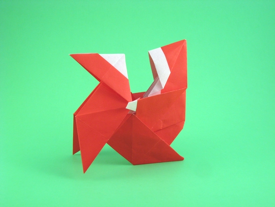 Origami Santa Claus on pajarita by Luis Fernandez Perez folded by Gilad Aharoni on giladorigami.com