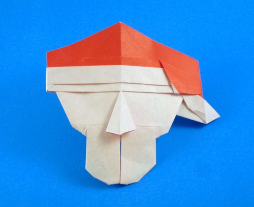 Origami - How to make an easy origami Santa Claus (christmas ... | 407x500