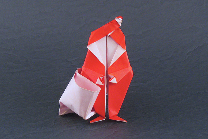 Origami Santa Claus with sack by David Brill folded by Gilad Aharoni