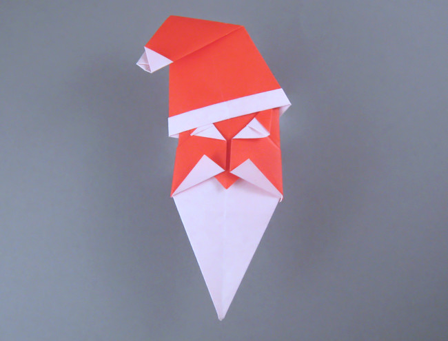 Origami Santa Claus head by John Smith Folded from 2 squares of origami paper by Gilad Aharoni on giladorigami.com