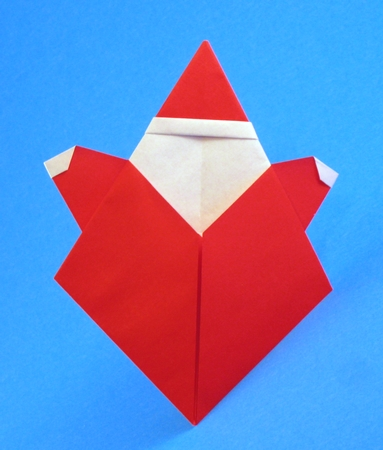Origami Santa Claus by Suzuki Emiko Folded from a square of origami paper by Gilad Aharoni on giladorigami.com