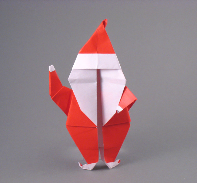 Origami Santa Claus by Teiichiro Terui Folded from a square of origami paper by Gilad Aharoni on giladorigami.com