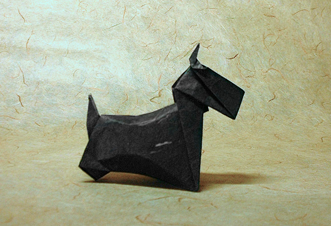 Origami Scottish Terrier by Yasuhiro Sano folded by Gilad Aharoni on giladorigami.com