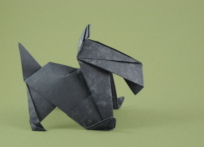 Origami Scottie dog by Stephen Weiss folded by Gilad Aharoni