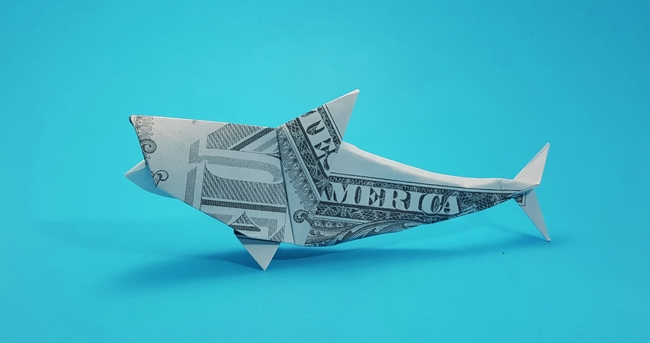 Origami Great white shark by Michael G. LaFosse Folded from a US Dollar bill by Gilad Aharoni on giladorigami.com