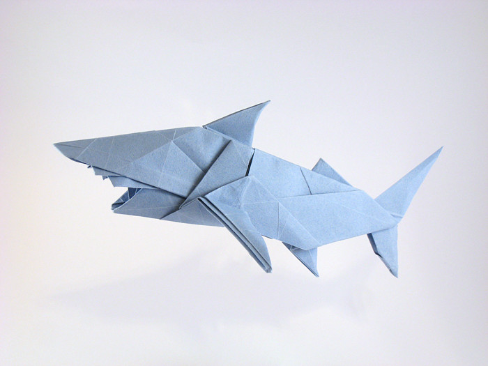 Origami Shark by Miyajima Noboru Folded from a square of Tant paper by Gilad Aharoni on giladorigami.com
