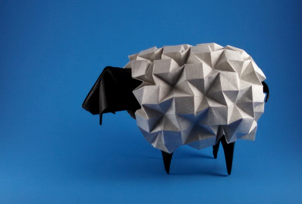 Origami Sheep by Beth Johnson Folded from a square and a rectangle of cardstock by Gilad Aharoni on giladorigami.com