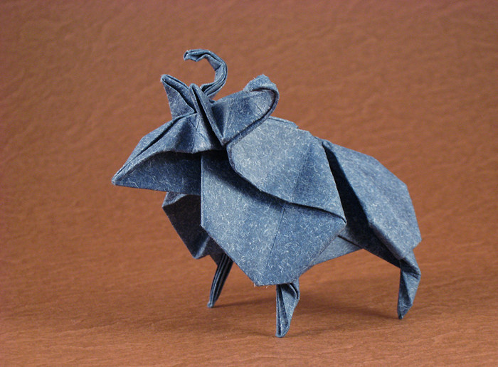 Origami Sheep By Jun Maekawa Folded From A Square Of Patterned Paper Gilad Aharoni
