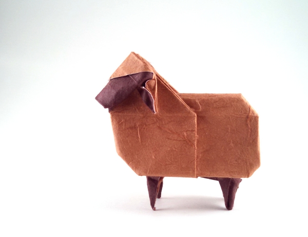 Origami Sheep by Seo Won Seon and Lee In Kyung (Red and White Paper) folded by Gilad Aharoni