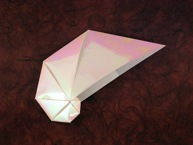 21 Square Origami Spiral Shell By Jun Maekawa Folded From A Of Holographic Paper Gilad Aharoni