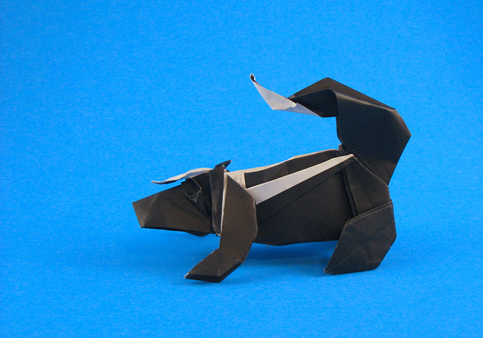 Origami Skunk by Marc Kirschenbaum Folded from a square of origami paper by Gilad Aharoni on giladorigami.com
