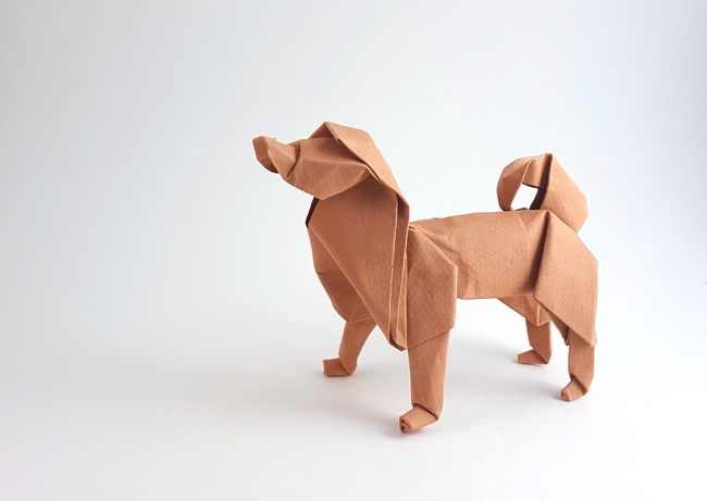 Origami Sakhalin husky by Akira Yoshizawa Wet folded from 2 squares of Canson art paper by Gilad Aharoni on giladorigami.com