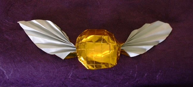 Origami Golden Snitch from Harry Potter by Peter Farina Folded from a square of Japanese foil by Gilad Aharoni on www.giladorigami.com