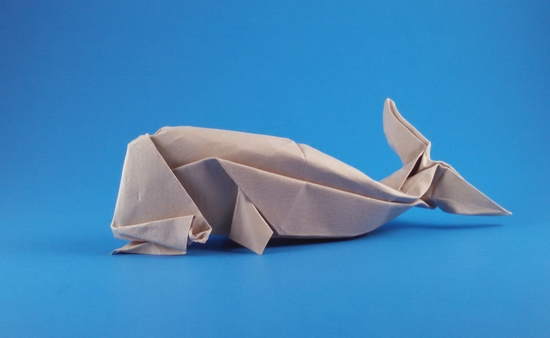 Origami Sperm whale by John Montroll folded by Gilad Aharoni