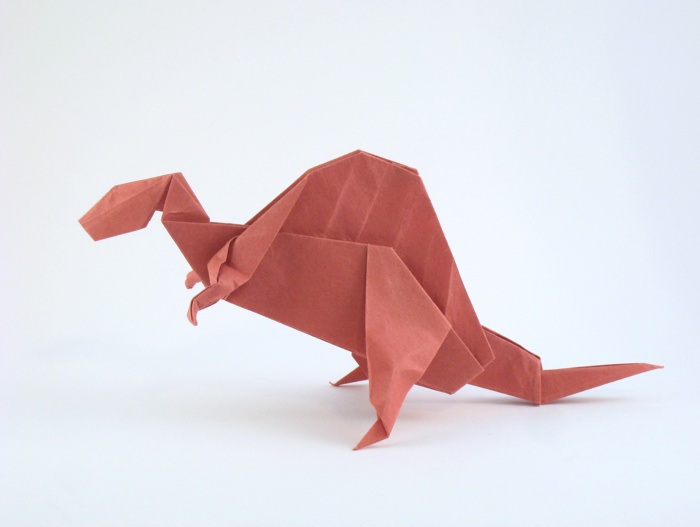 Origami Spinosaurus by John Montroll Folded from a square of origami paper by Gilad Aharoni on www.giladorigami.com