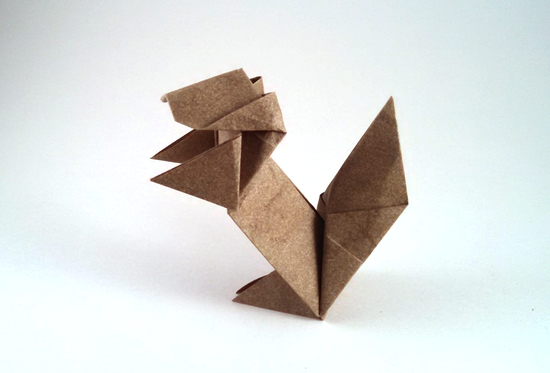 Origami Squirrel by Kawate Ayako Folded from a square of Elephant-Hide by Gilad Aharoni on giladorigami.com