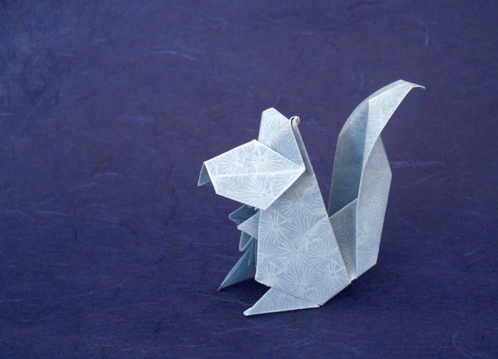 Origami Squirrel by Jun Maekawa Folded from a square of decorative vellum by Gilad Aharoni on giladorigami.com