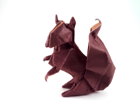 Origami Squirrel by John Montroll Wet folded from a square of double-sided mulberry paper by Gilad Aharoni on www.giladorigami.com