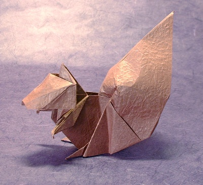 Origami Squirrel by Nakagawa Kouji Folded from a square of Vietnamese wrapping-paper by Gilad Aharoni on www.giladorigami.com