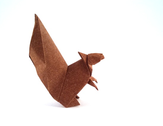 Origami Squirrel by Makoto Yamaguchi Folded from a square of Speckle-Design paper by Gilad Aharoni on giladorigami.com
