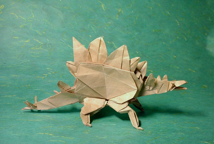Origami Stegosaurus by Ronald Koh folded by Gilad Aharoni on giladorigami.com
