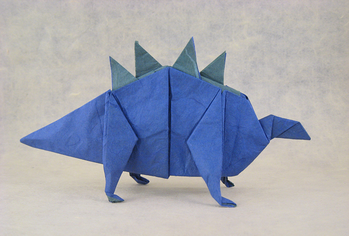 Origami Stegosaurus by Takai Hiroaki Folded from a square of duo mulberry paper by Gilad Aharoni on giladorigami.com