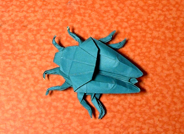 Origami Stink bug by John Montroll folded by Gilad Aharoni
