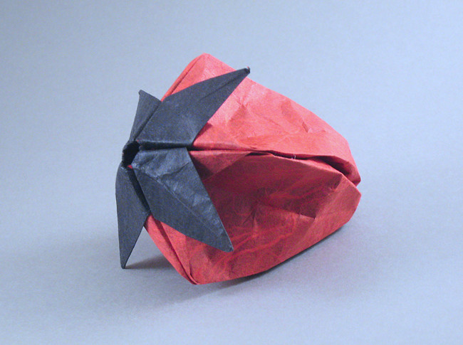 Origami Strawberry by Rae Cooker folded by Gilad Aharoni on giladorigami.com