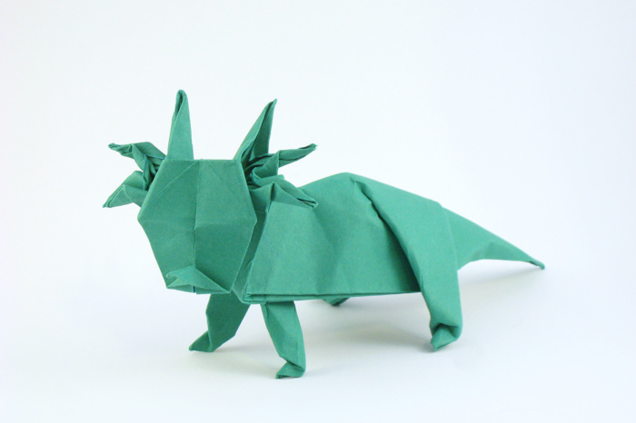 Origami Styracosaurus by John Montroll Folded from a square of art paper by Gilad Aharoni on www.giladorigami.com