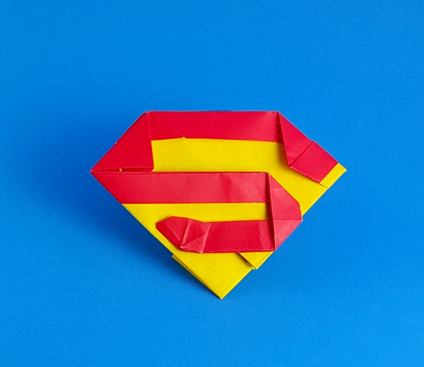 Origami Superman's shield by John Montroll Folded from a square dou origami paper by Gilad Aharoni on giladorigami.com