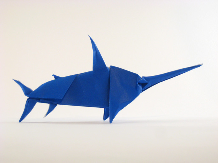 Origami Swordfish by John Montroll Folded from a square of origami paper by Gilad Aharoni on giladorigami.com