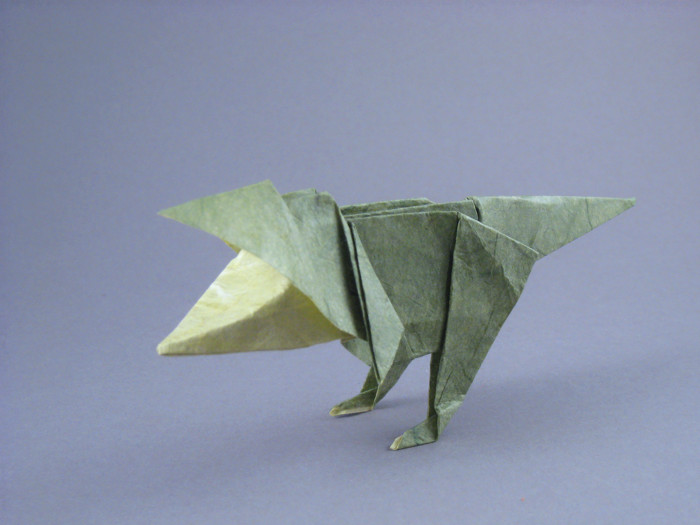 Origami Tyrannosaurus - baby by Issei Yoshino folded by Gilad Aharoni on giladorigami.com