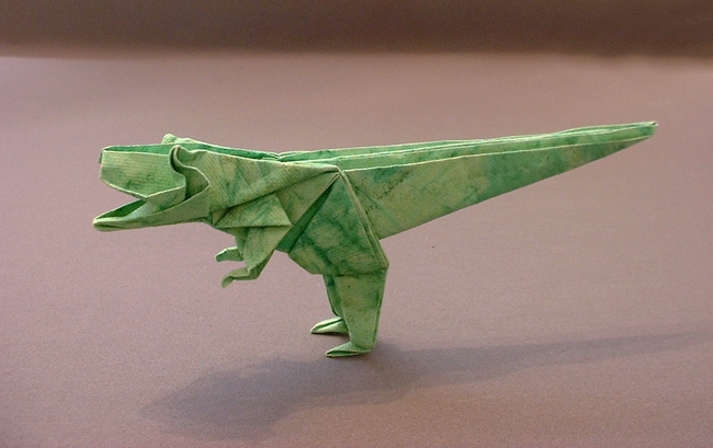 Origami Tyrannosaurus By Jun Maekawa Folded From A Square Of Patterned Art Paper Gilad Aharoni Dinosaurs