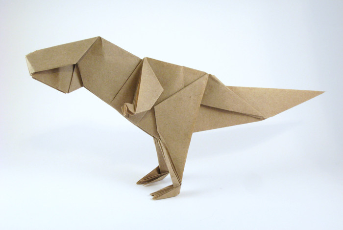 Origami Tyrannosaurus by Jun Maekawa Folded from a rectangle of Trimaco masking-paper by Gilad Aharoni on giladorigami.com